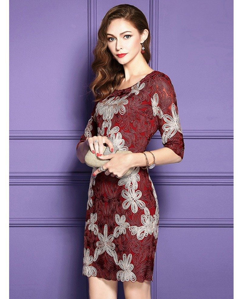 Embroidered pattern cocktail dresses for women over 40 50 for Cocktail 40 ans