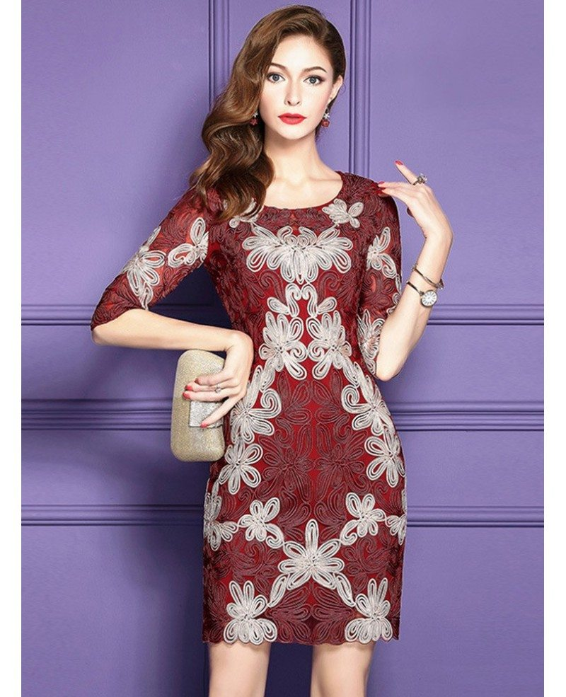 Embroidered Pattern Cocktail Dresses For Women Over 40,50