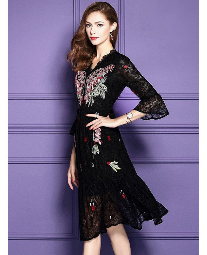 Classy Black Knee Length Lace Wedding Guest Dress For Fall