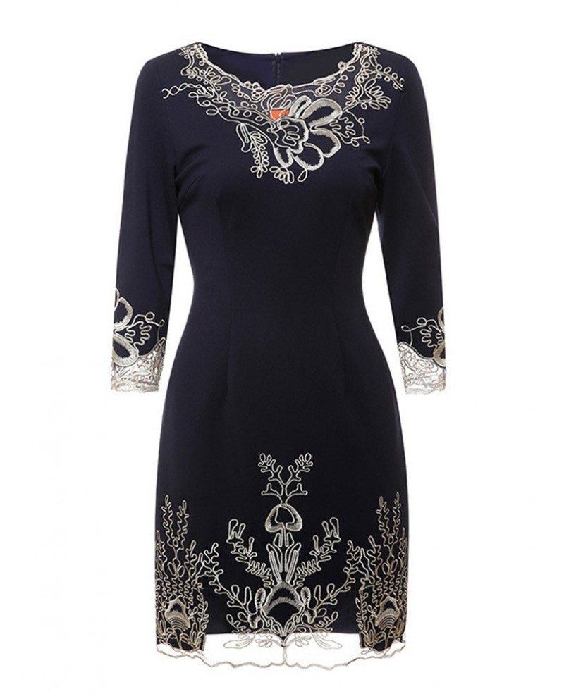 Navy Blue Fitted High End Cocktail Party Dress For Wedding