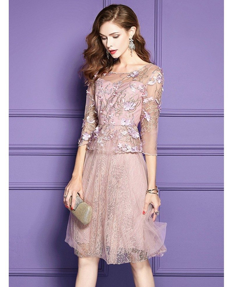 pink a line lace highend short party dress for weddings