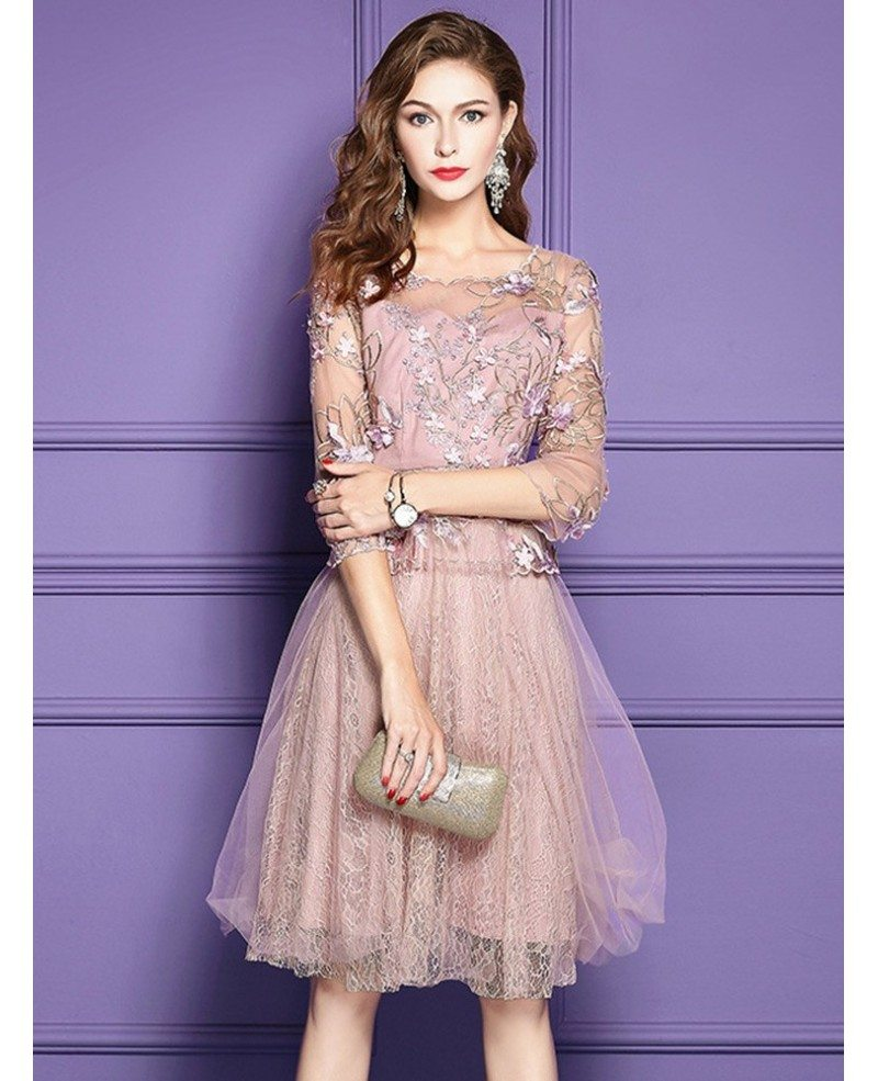 Lace Wedding Guest Dresses: Pink A Line Lace High-end Short Party Dress For Weddings