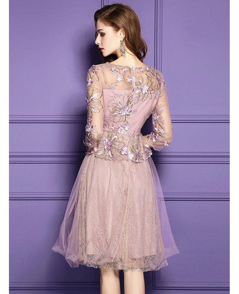 Pink a line lace high end short party dress for weddings for Wedding guest lace dresses