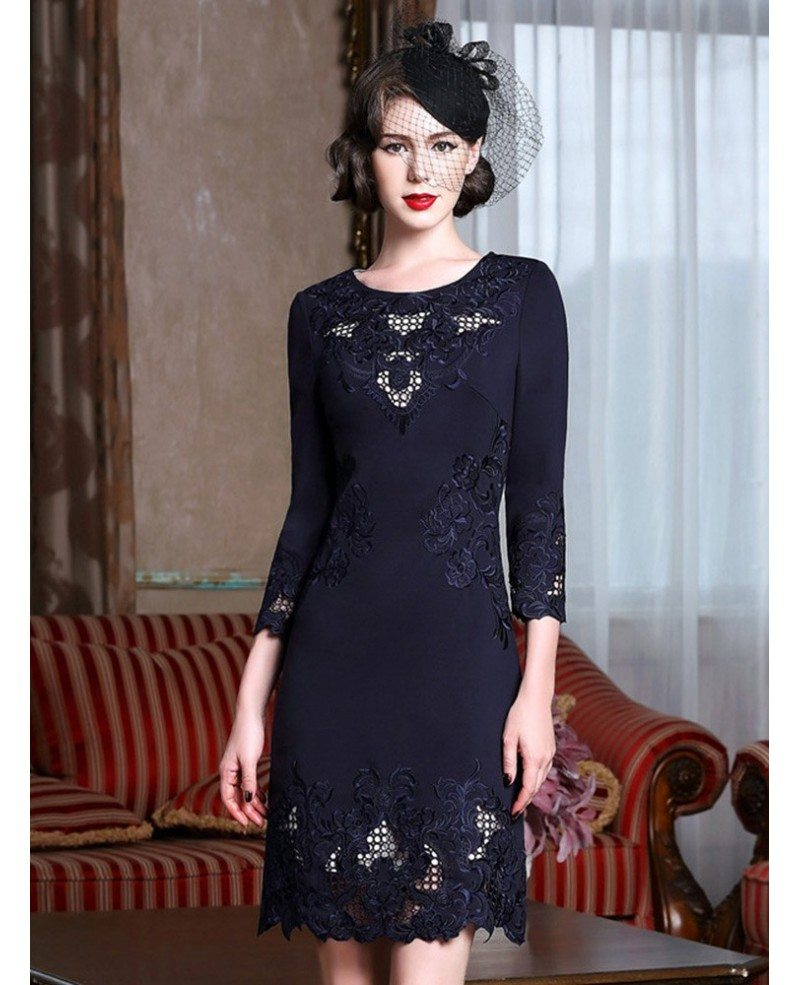 High-end Embroidery Long Sleeve Party Dress For Women Over
