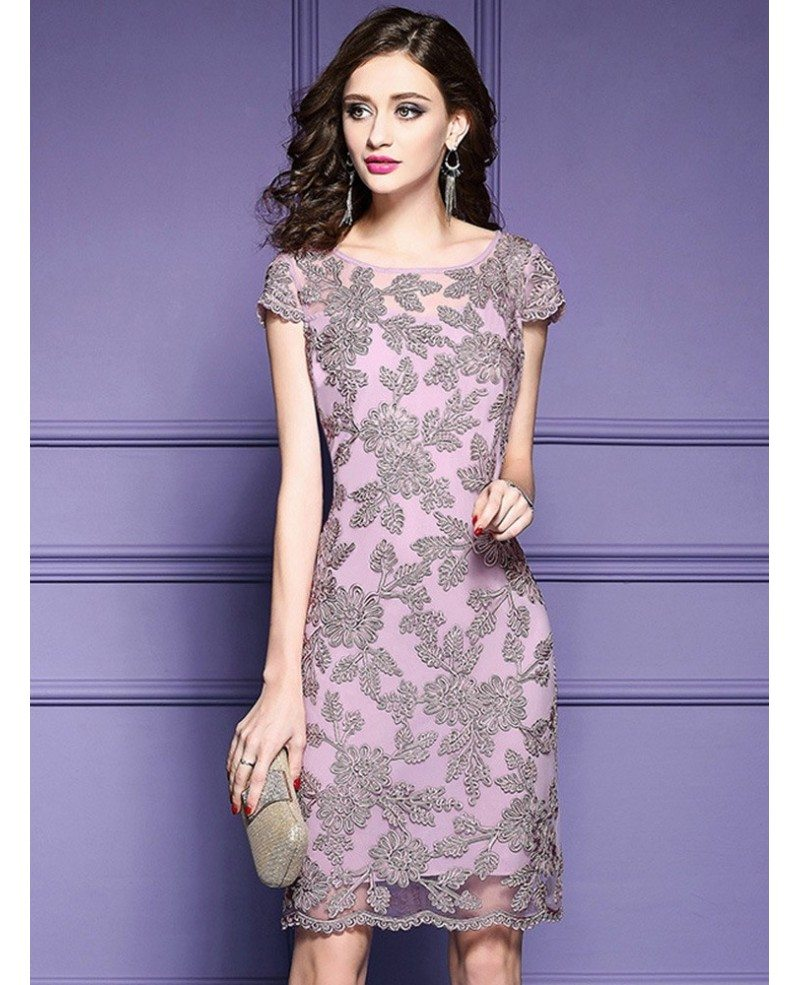highend pink embroidered cocktail dress with cap sleeves