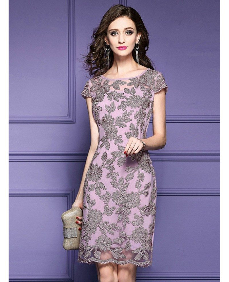 High-end Pink Embroidered Cocktail Dress With Cap Sleeves