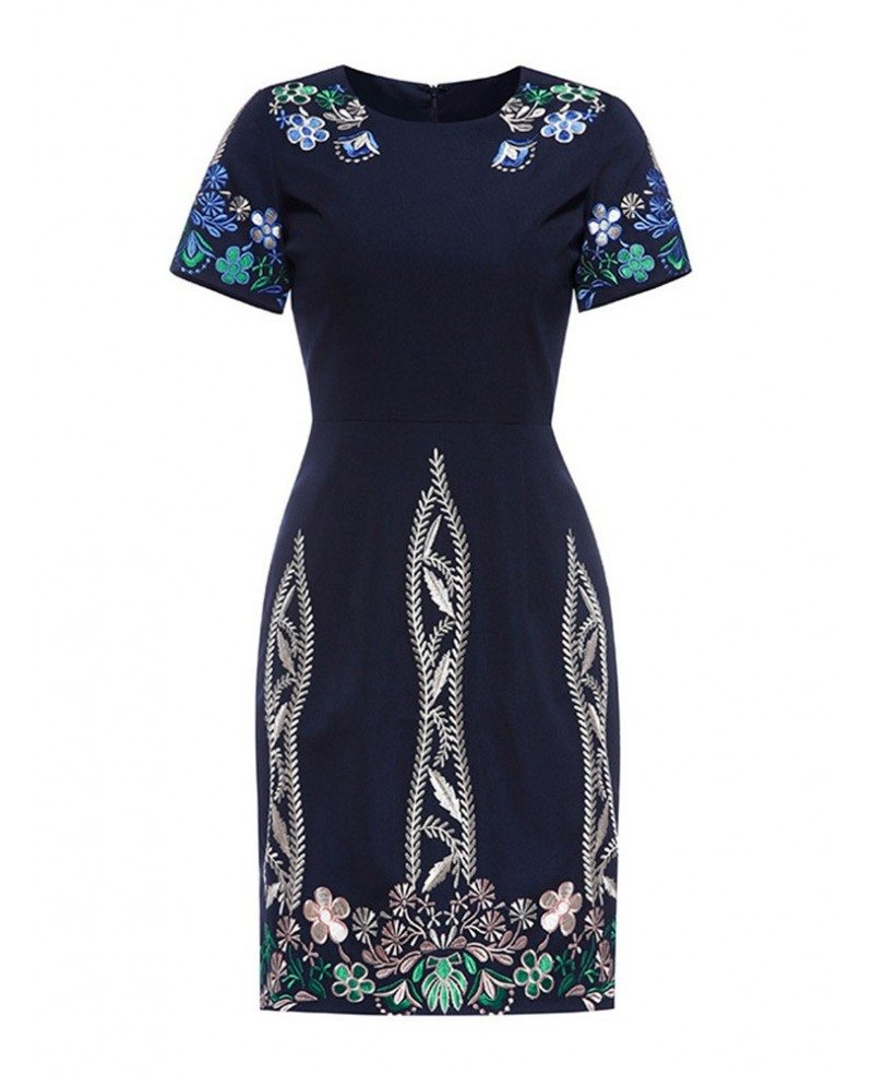 Vintage navy blue embroidered cocktail wedding party dress
