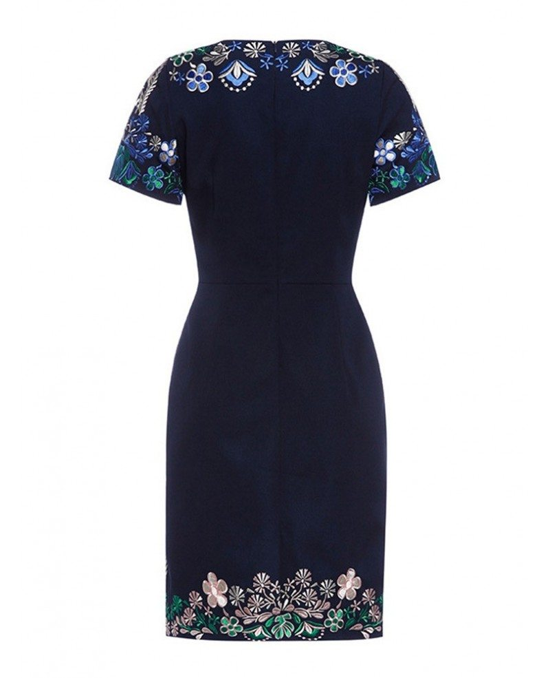 Vintage navy blue embroidered cocktail wedding party dress for Cocktail dress with sleeves for wedding