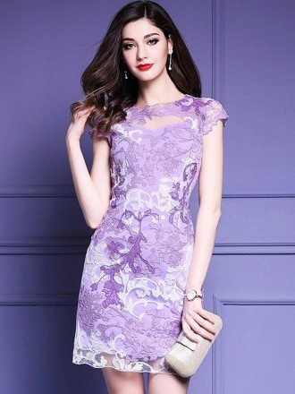Lovely High Quality Purple Embroidery Bodycon Dress For Wedding Guests