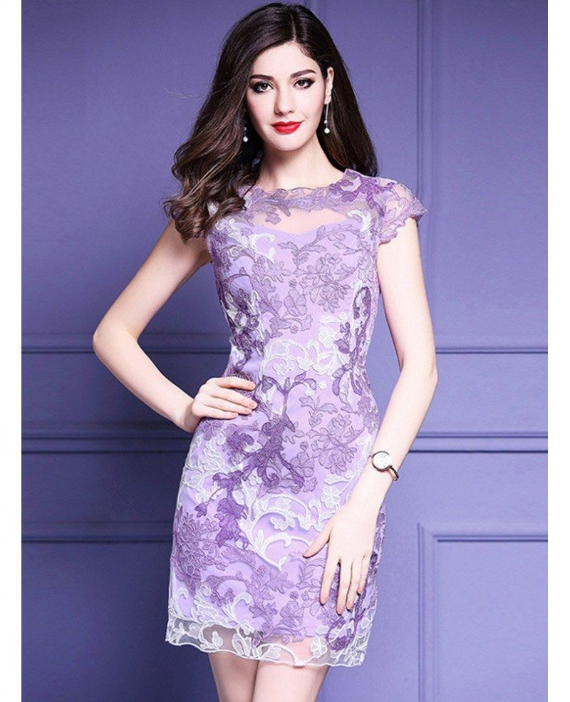 High quality purple embroidery bodycon dress for wedding for Wedding dress with purple embroidery
