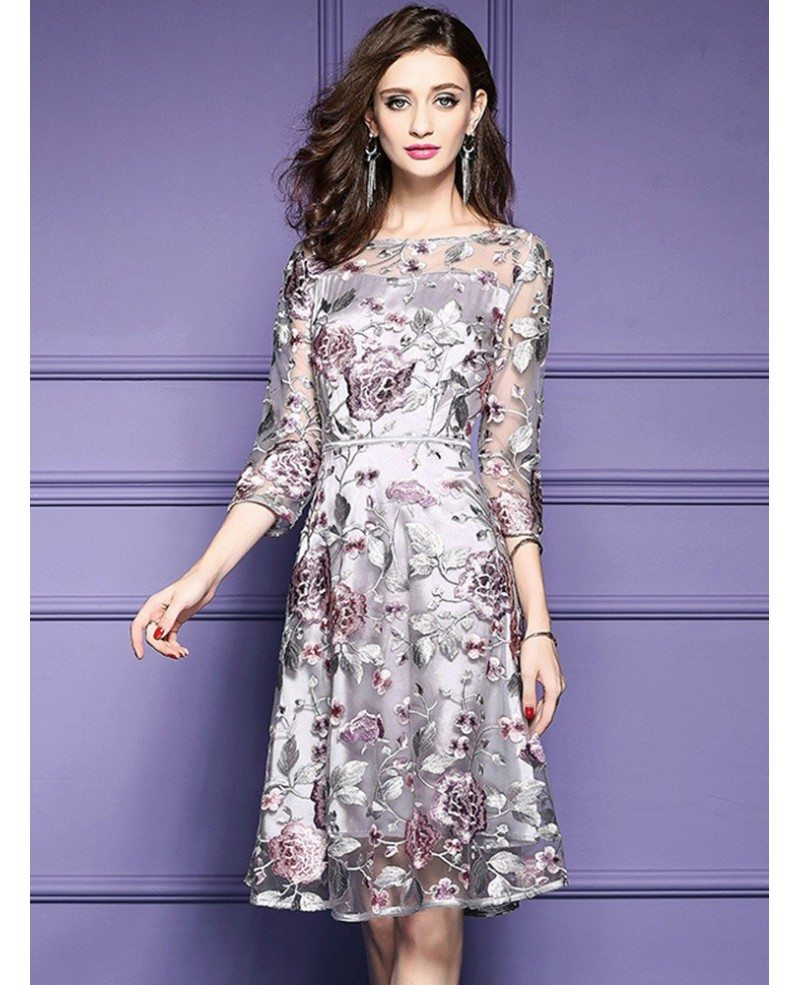 grey embroidery knee length floral party dress wedding