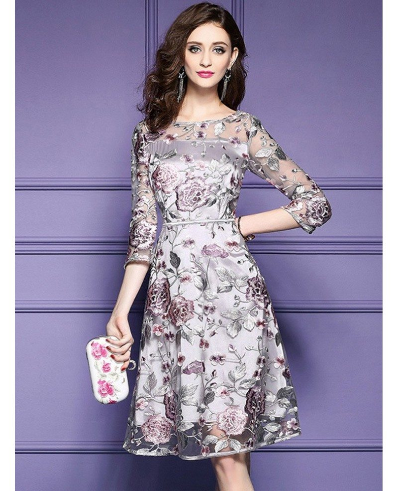 Grey Embroidery Knee Length Floral Party Dress Wedding Guests ...