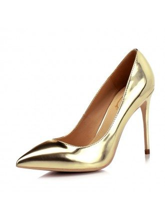 Shiny Patent Leather Gold Wedding High Heels With Pointed Toe