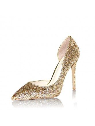 Glittering Gold High Heeled Wedding Shoes For Brides 2018