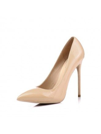Glossy Patent Leather Nude Bridesmaid Shoes With Pointed Toe