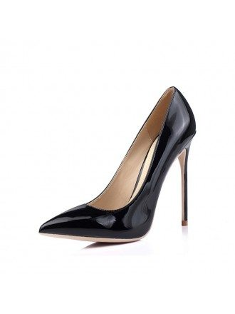 Simple Black Patent Leather High Heels For Bridesmaids 2018