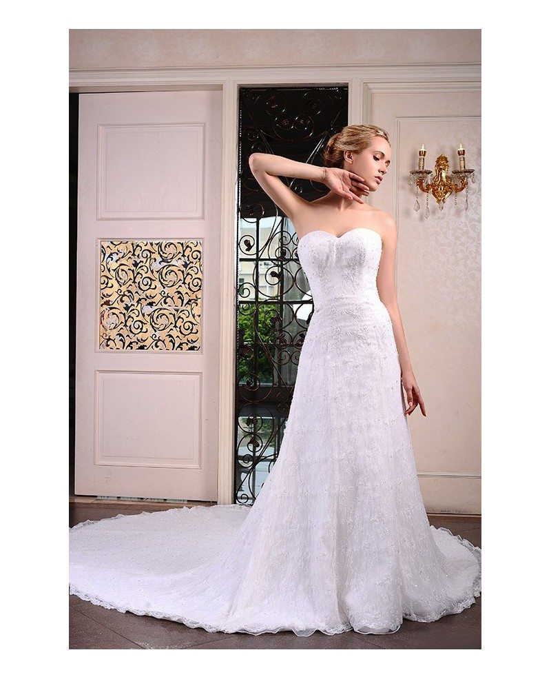 Sweetheart Lace Wedding Dress: A-Line Sweetheart Cathedral Train Lace Wedding Dress With