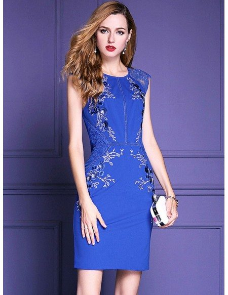 Quick Ship Royal Blue Embroidered Cocktail Dress Wedding Parties