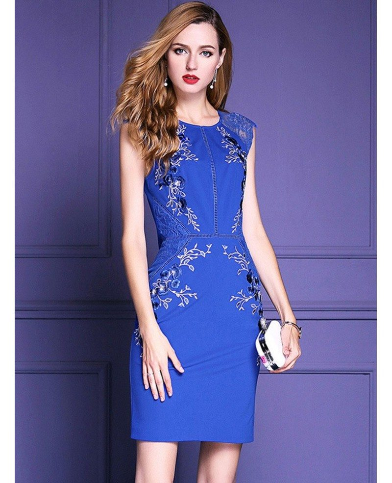 Royal Blue Embroidered Cocktail Dress Wedding Parties #ZL8101 ...