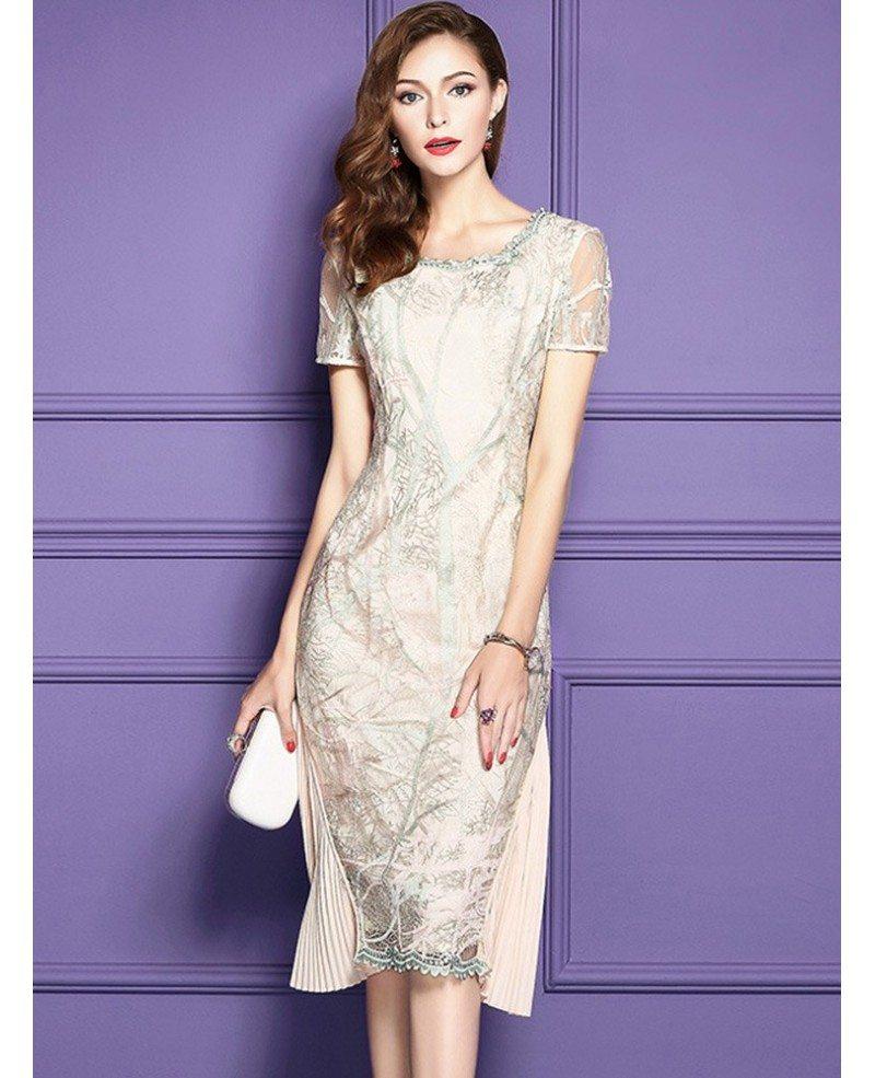 Elegant Apricot Knee Length Bodycon Formal Dress For