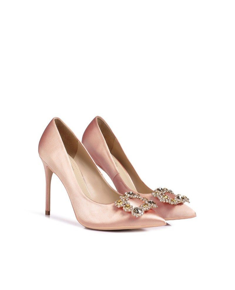 simple satin pinkish chagne prom shoes with
