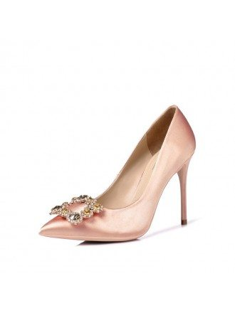 Simple Satin Pinkish Champagne Prom Shoes With Crystal Buckle