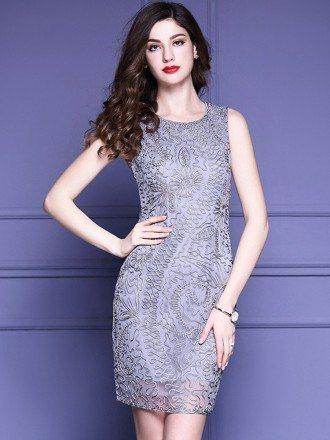 High End Grey Cocktail Party Dress Wedding Guests With Unique Embroidery