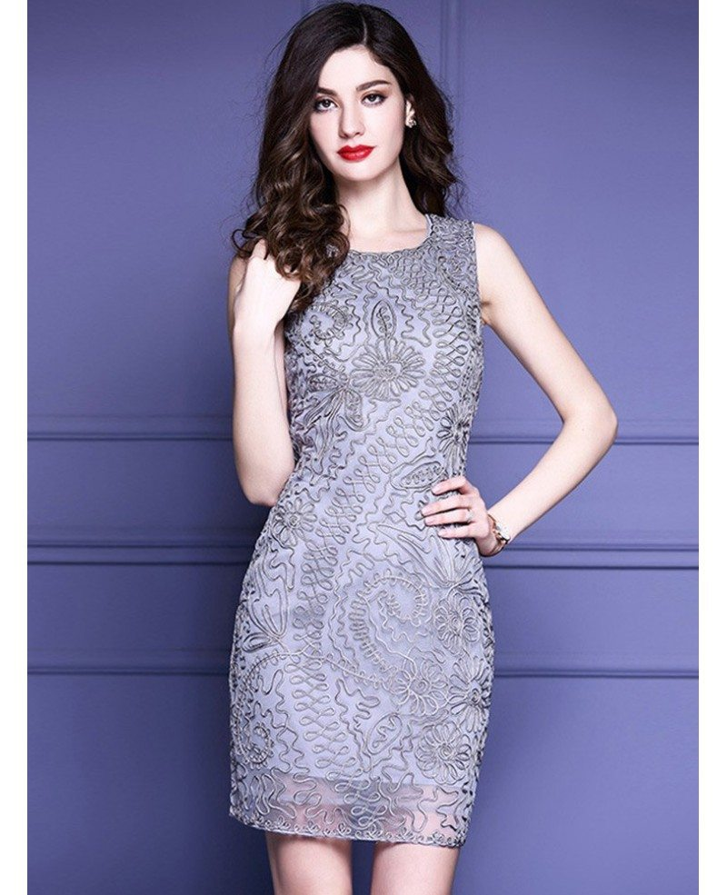 High end grey cocktail party dress wedding guests with for Grey dress wedding guest