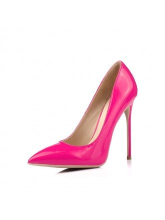 Simple Patent Leather Fuschia Bridelsmaid Shoes For Girls