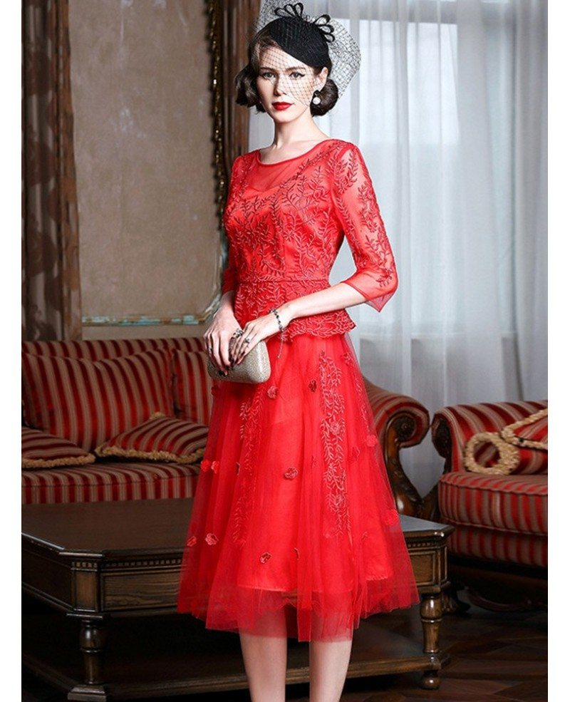 knee length red lace a line party dress for wedding guests