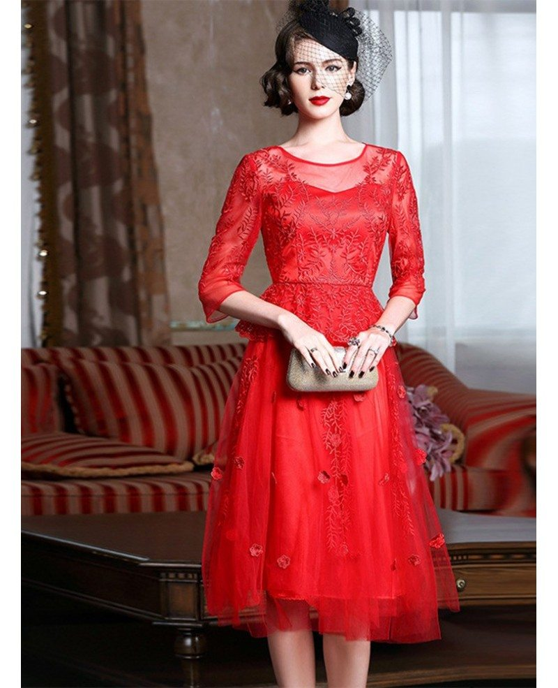 Knee length red lace a line party dress for wedding guests for Dress for a wedding party