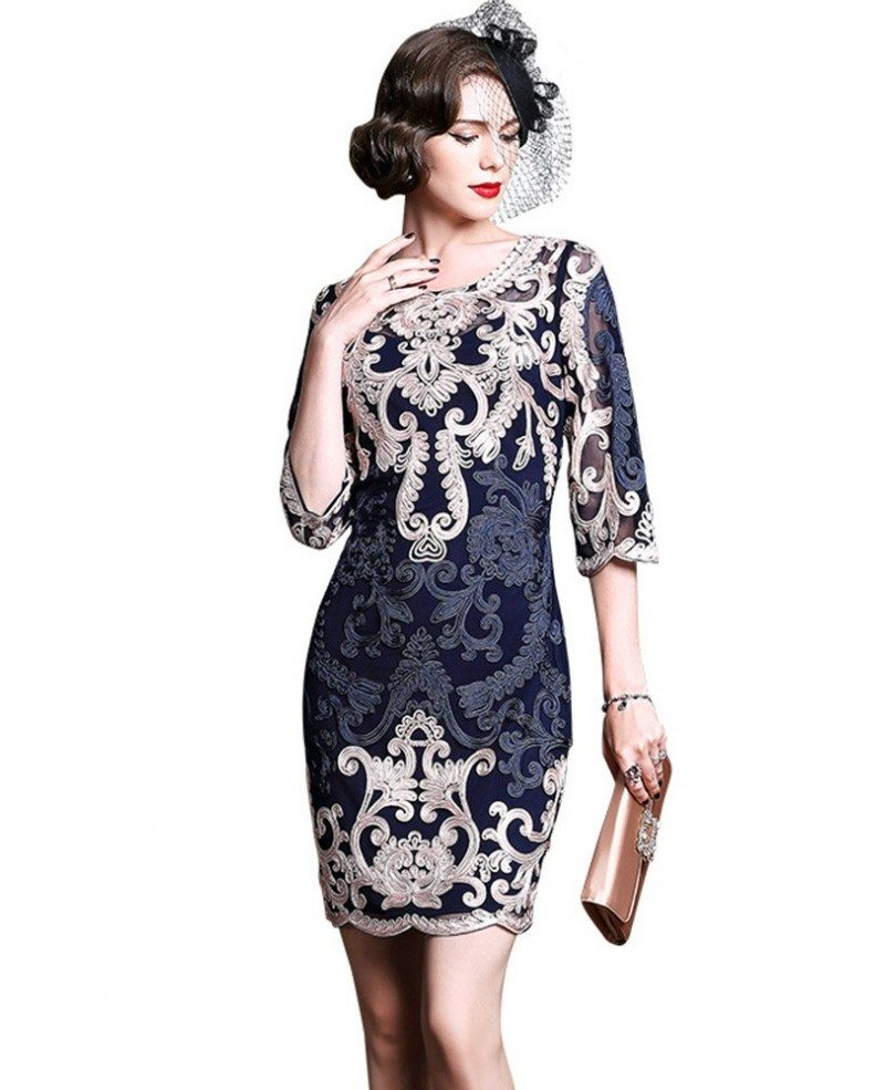 High-end Navy Blue Embroidery Cocktail Dress For Women 40,50 Wedding ...