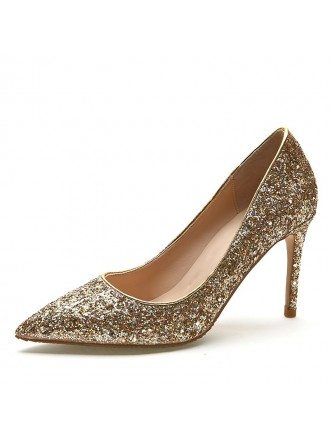 Glossy Sequined Gold Prom Shoes 2018 High Heel Stilettos