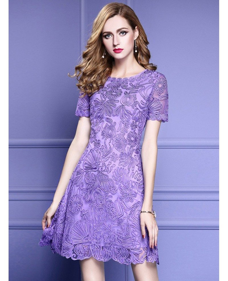 Elegant Purple Lace A Line Wedding Guest Dress With High ...