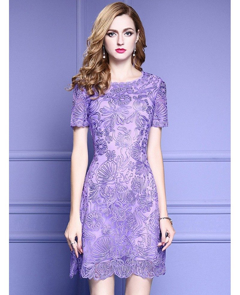 Elegant purple lace a line wedding guest dress with high for Wedding guest lace dresses