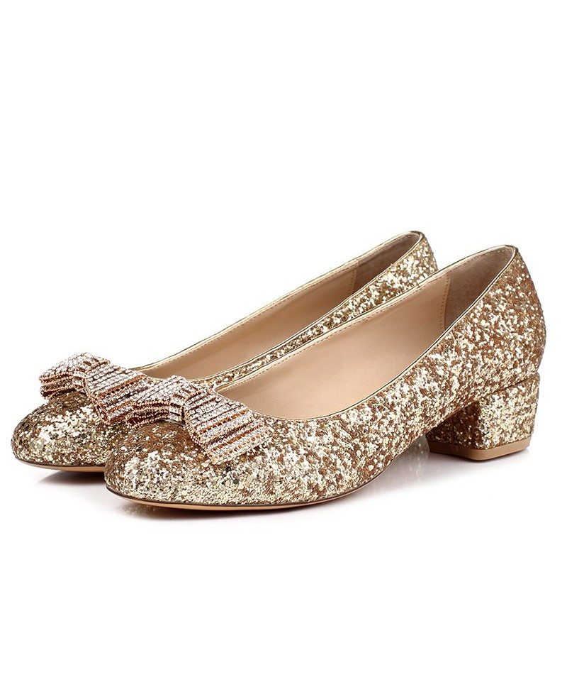 Comfortable Low Heel Flat Wedding Shoes With Sparkly Bow # ...