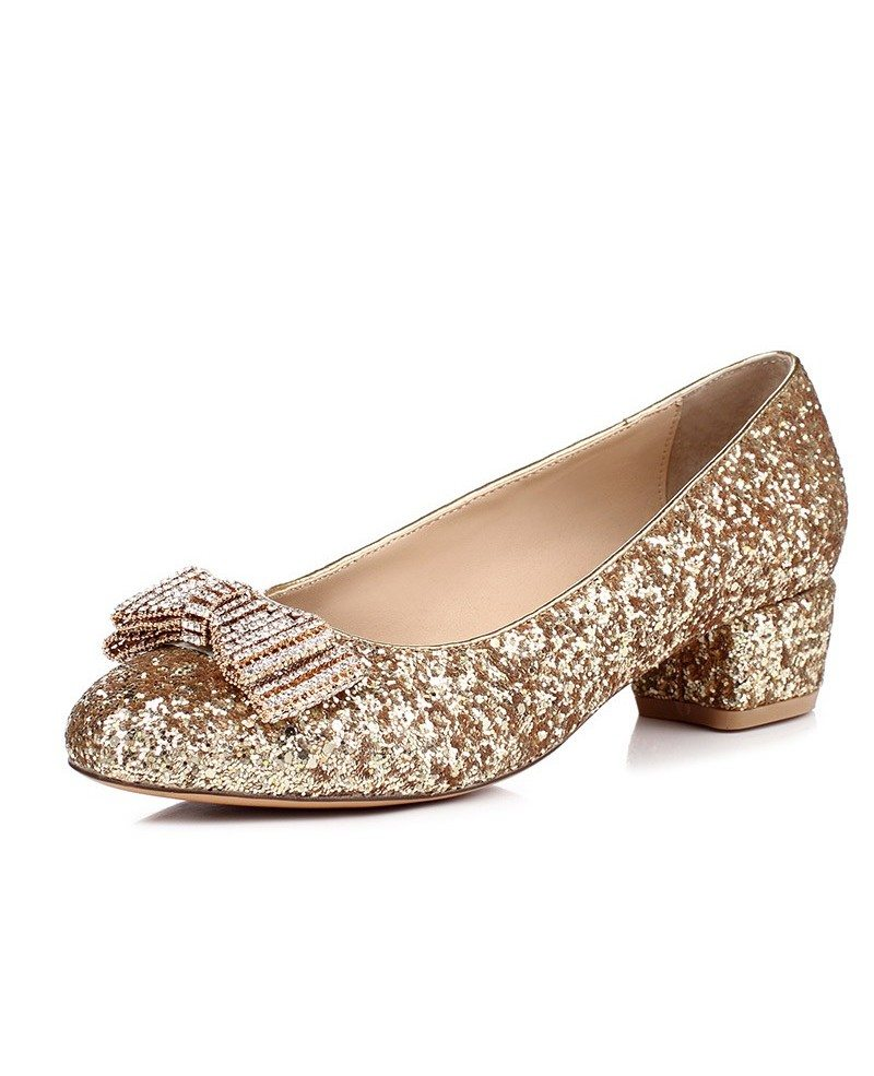 Pink Sparkly Flat Wedding Shoes