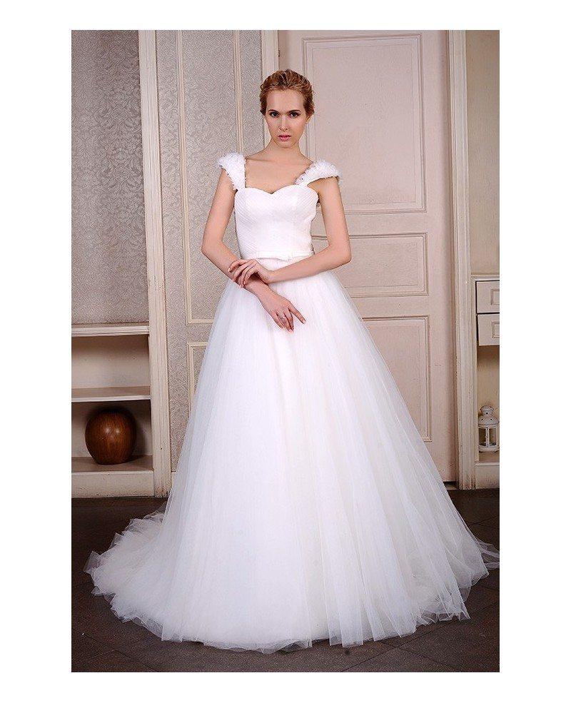 Ball gown sweetheart chapel train organza wedding dress for Ball gown organza wedding dress