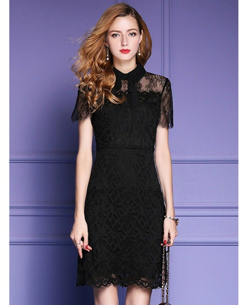 Chick black lace high neck party dress for formal weddings for Black formal dress for wedding