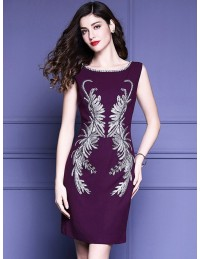 Awesome Unique Embroidery Pattern Purple Cocktail Dress Sleeveless For Weddings Awesome Design