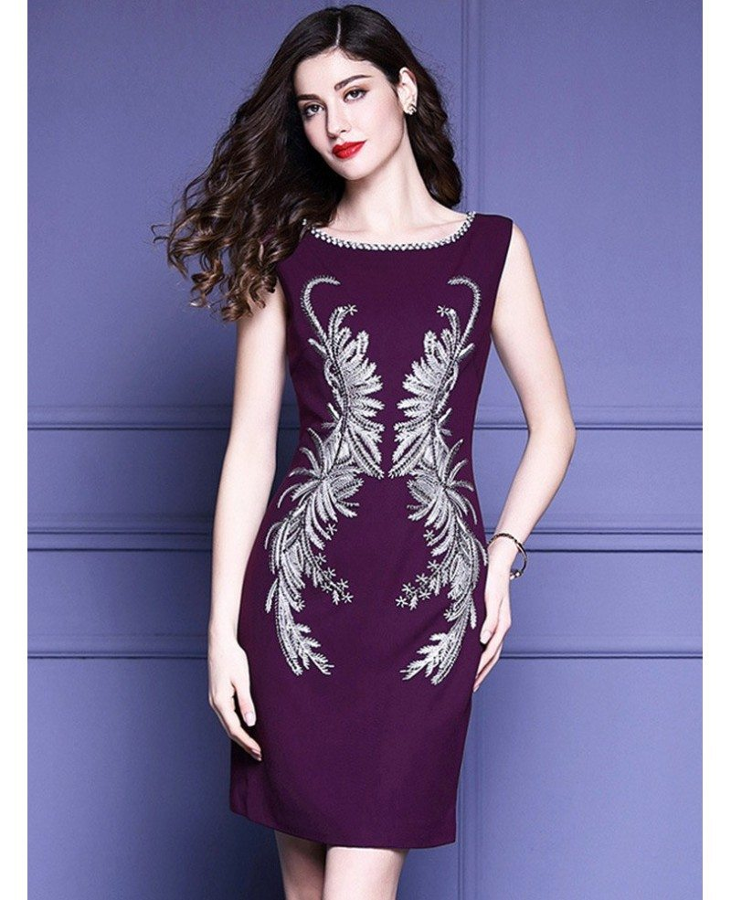 Unique Embroidery Pattern Purple Cocktail Dress Sleeveless