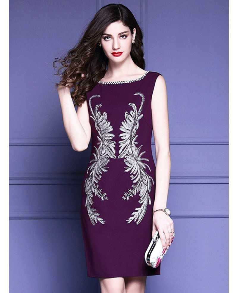 Unique embroidery pattern purple cocktail dress sleeveless for unique embroidery pattern purple cocktail dress sleeveless for weddings ombrellifo Image collections