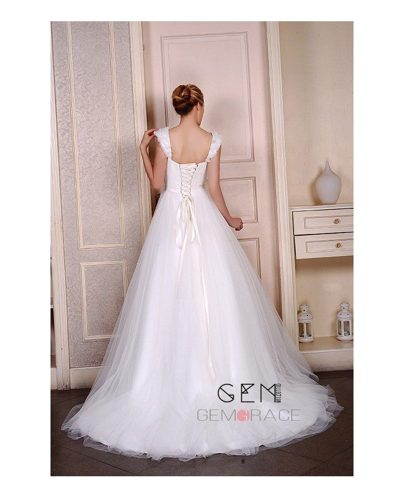 Ball gown sweetheart chapel train organza wedding dress for Wedding dresses with ruffles