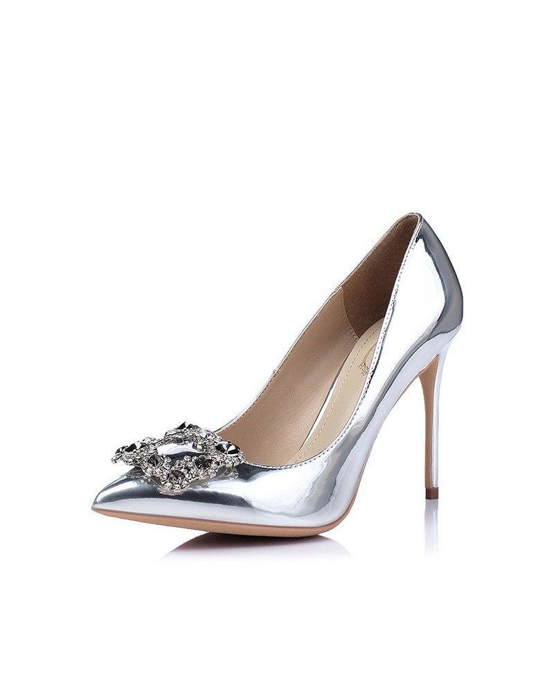 Shiny Silver Stiletto Heels With Rhinestones For Wedding
