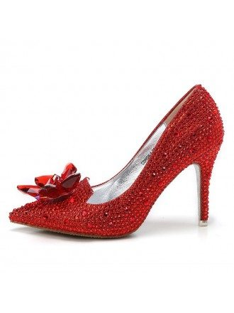 Glitter Crystal Red Low Heel Bridal Shoes With Floral Bow 2018