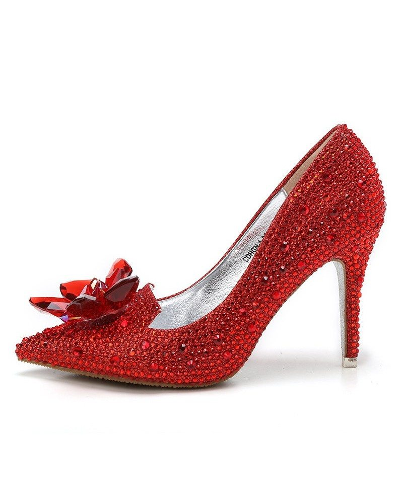 Glitter Crystal Red Low Heel Bridal Shoes With Floral Bow ...