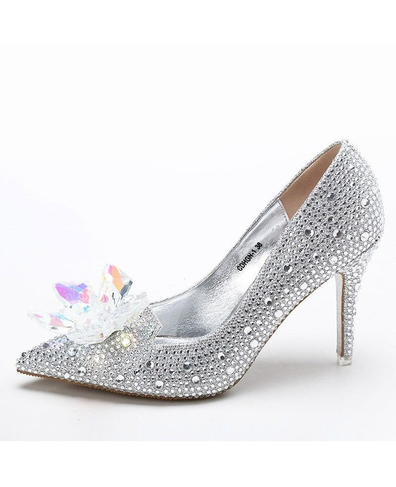 ... Glitter Crystal Red Low Heel Bridal Shoes With Floral Bow 2018 ...