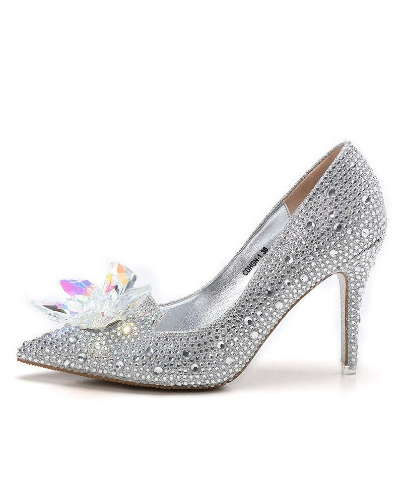 Glitter crystal red low heel bridal shoes with floral bow for Low heel dress shoes wedding