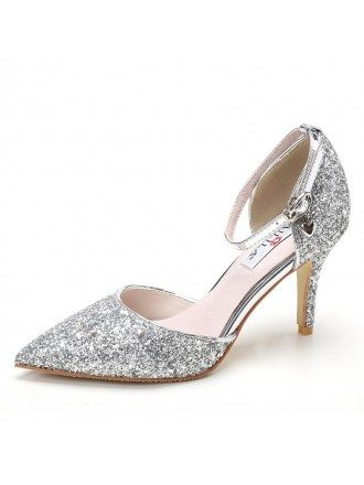 Elegant Strappy Silver Prom Wedding Shoes For 2018 Spring Fall
