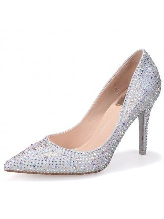 Bling Sliver Lace Court Prom Shoes With Closed Toe